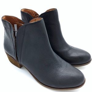LUCKY BRAND BRENON BOOTIES 9 BLACK ANKLE side zip
